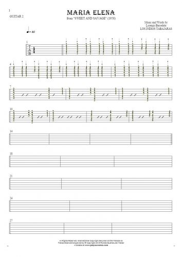 Maria Elena - Tablature for guitar - guitar 2 part