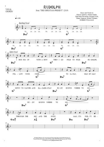 Rudolph - Notes, lyrics and chords for vocal with accompaniment
