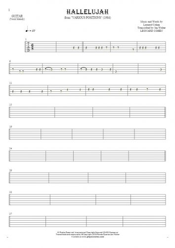 Hallelujah - Tablature for guitar - melody line