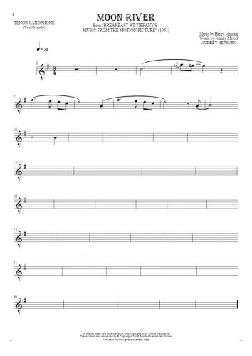 Moon River - Notes for tenor saxophone - melody line
