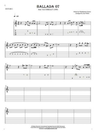 Ballada 07 - Notes and tablature for guitar - guitar 1 part
