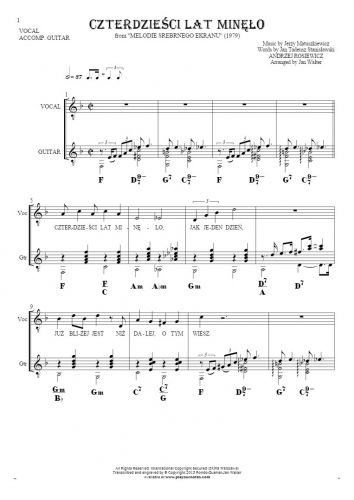 Czterdzieści Lat Minęło - Notes, lyrics and chords for guitar and vocal