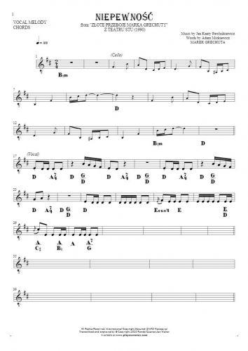 Niepewność - Nuty i akordy na głos solowy z akompaniamentem