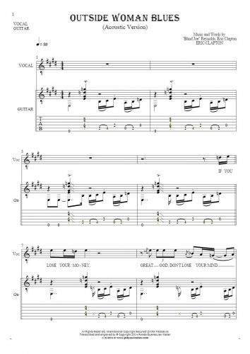 Outside Woman Blues - Notes, tablature and lyrics for solo voice with accompaniment
