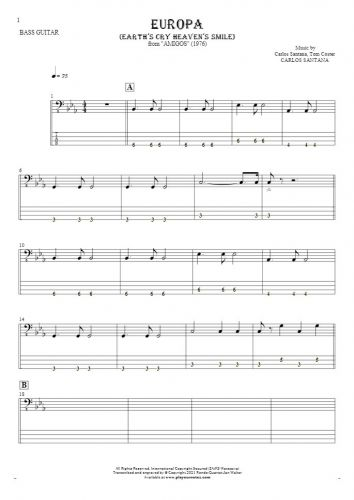 Europa (Earth's Cry Heaven's Smile) - Notes and tablature for bass guitar
