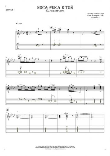 Somebody's Knocking At The Door At Nigh - Notes and tablature for guitar - guitar 1 part