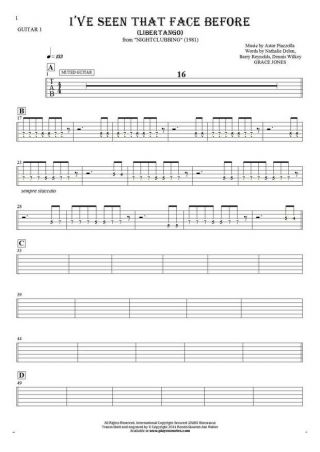 I've Seen That Face Before - Libertango - Tablature (rhythm values) for guitar - guitar 1 part