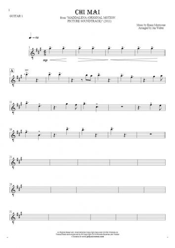 Chi Mai - Notes for guitar - guitar 1 part