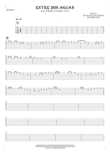 Entre dos aguas - Tablature for guitar - guitar 1 part