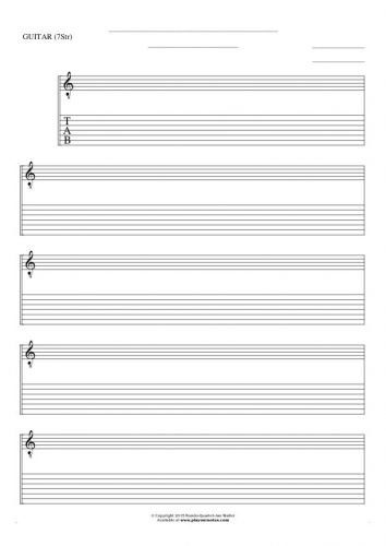 Free Blank Sheet Music - Notes and tablature for guitar (7-str.)