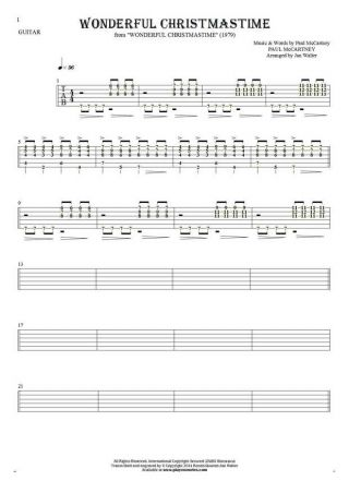 Wonderful Christmastime - Tablature (rhythm values) for guitar - accompaniment