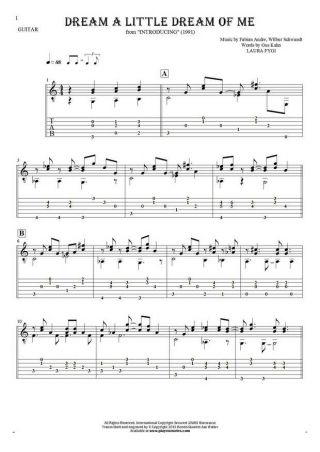 Dream a Little Dream of Me - Notes and tablature for guitar