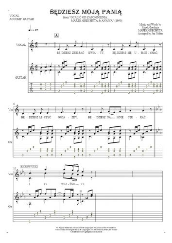 Będziesz moją panią - Notes, tablature and lyrics for vocal with guitar accompaniment