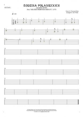 Rodzina Połanieckich - Tablature (rhythm. values) for guitar - guitar 1 part