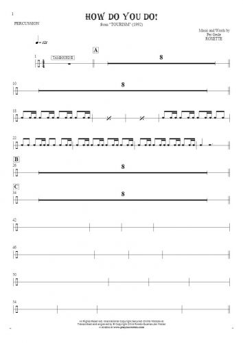 How Do You Do! - Notes for percussion instruments