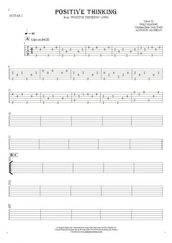 Positive Thinking - Tablature for guitar - guitar 2 part
