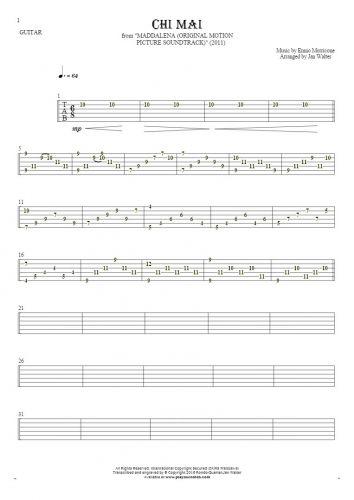 Chi Mai - Tabulatur für Gitarre solo (fingerstyle)