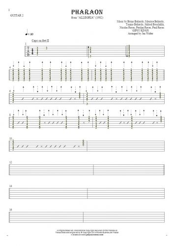 Pharaon - Tablature for guitar - guitar 2 part