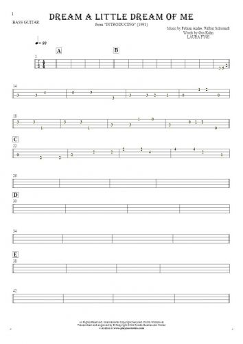 Dream a Little Dream of Me - Tablature for bass guitar