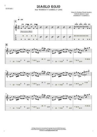 Diablo Rojo - Notes and tablature for guitar - guitar 1 part