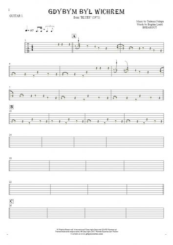 If I Were the Wind - Tablature for guitar - guitar 1 part