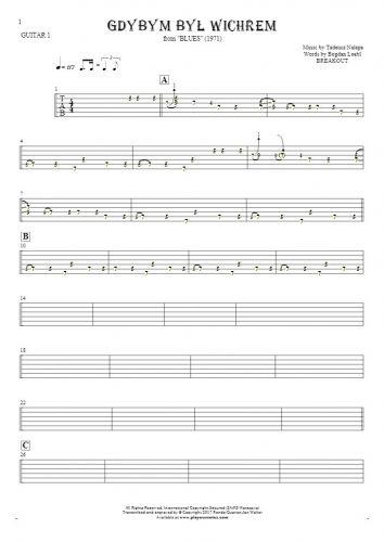 Gdybym był wichrem - Tabulatura na gitarę - partia gitary 1