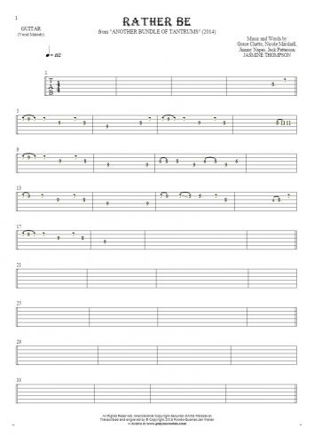 Rather Be - Tablature for guitar - melody line