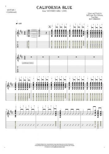 California Blue - Noten und Tabulatur für Gitarre - Gitarrestimme 1 und 2