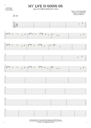 My Life Is Going On - Tablature for guitar - melody line