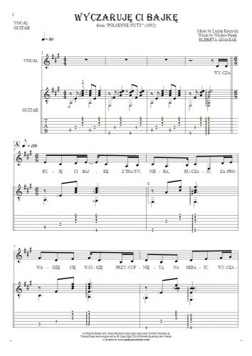 Wyczaruję ci bajkę - Notes, tablature and lyrics for vocal and guitar