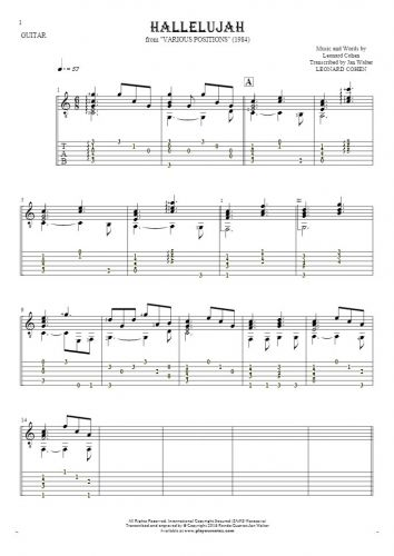 Hallelujah - Notes and tablature for guitar - accompaniment