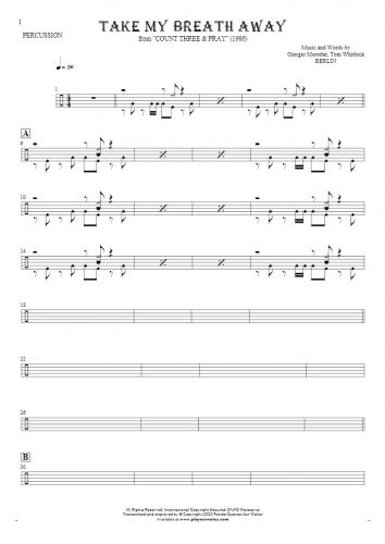 Take My Breath Away - Notes for percussion instruments