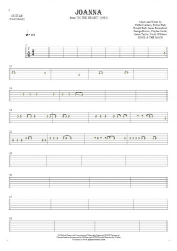 Joanna - Tablature for guitar - melody line