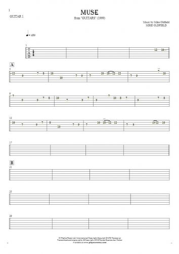 Muse - Tabulatura na gitarę - partia gitary 1