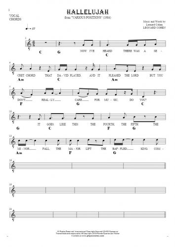 Hallelujah - Notes, lyrics and chords for solo voice with accompaniment