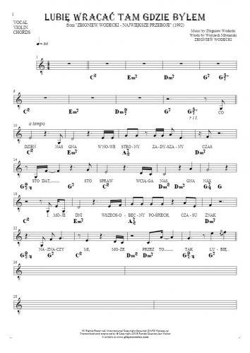 Lubię wracać tam gdzie byłem - Noten, Liedtekst und Akkorde für Gesang mit Begleitung