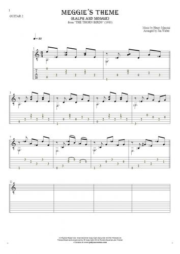 Meggie's Theme (Ralph and Meggie) - Notes and tablature for guitar - guitar 2 part