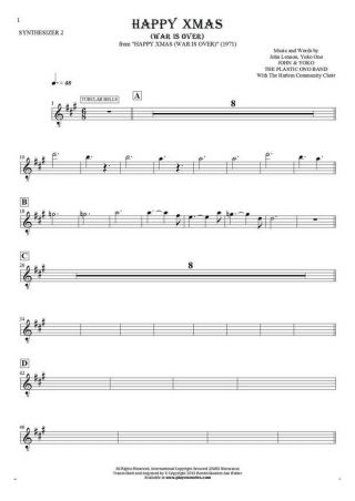 Happy Xmas (War Is Over) - Notes for synthesizer - Tubular Bells