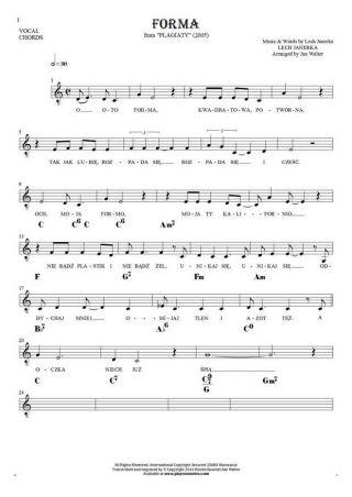 Forma - Noten Liedtekst und Akkorde für Solo Stimme mit Begleitung