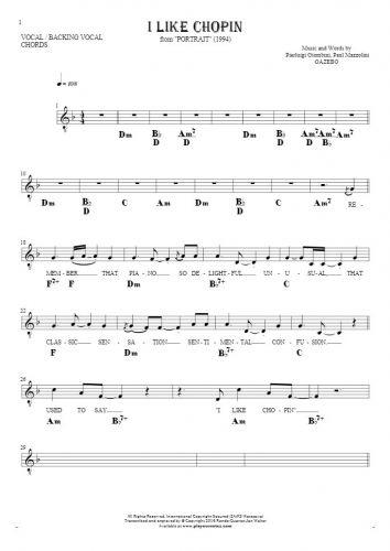 I Like Chopin - Noten, Liedtekst und Akkorde für Gesang mit Begleitung