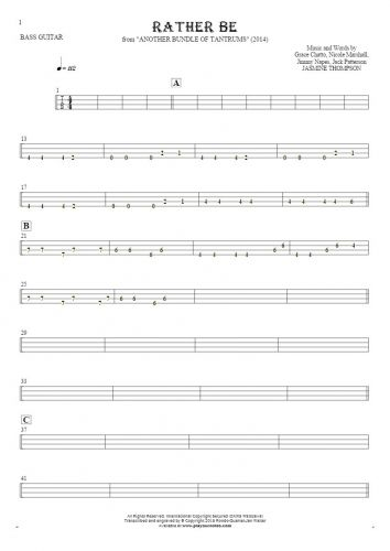 Rather Be - Tablature for bass guitar