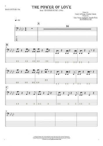 The Power Of Love - Notes and tablature for bass guitar (5-str.)