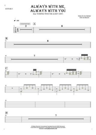 Always With Me, Always With You - Tablature (rhythm values) for guitar - guitar 3 part