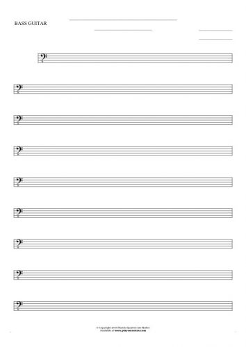 Free Blank Sheet Music - Notes for bass guitar