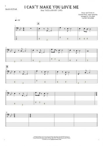 I Cant Make You Love Me - Tablature for bass guitar | PlayYourNotes