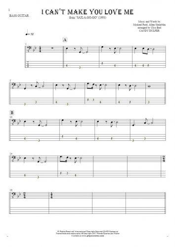 I Can't Make You Love Me - Noten und Tabulatur für Bassgitarre
