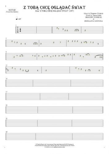 Z Tobą chcę oglądać świat - Tablature for guitar - melody line