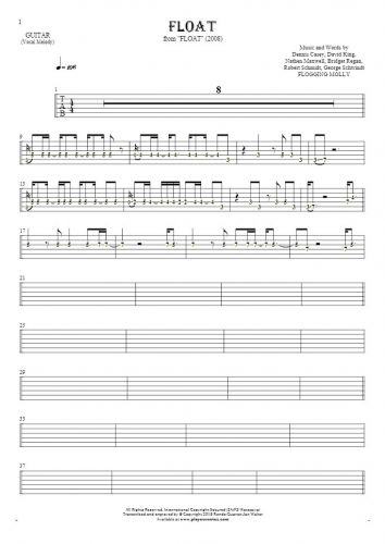 Float - Tablature (rhythm. values) for guitar - melody line