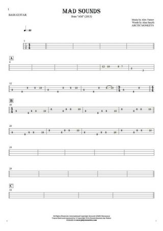 Mad Sounds - Tablature for bass guitar