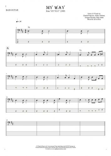 My Way - Notes and tablature for bass guitar